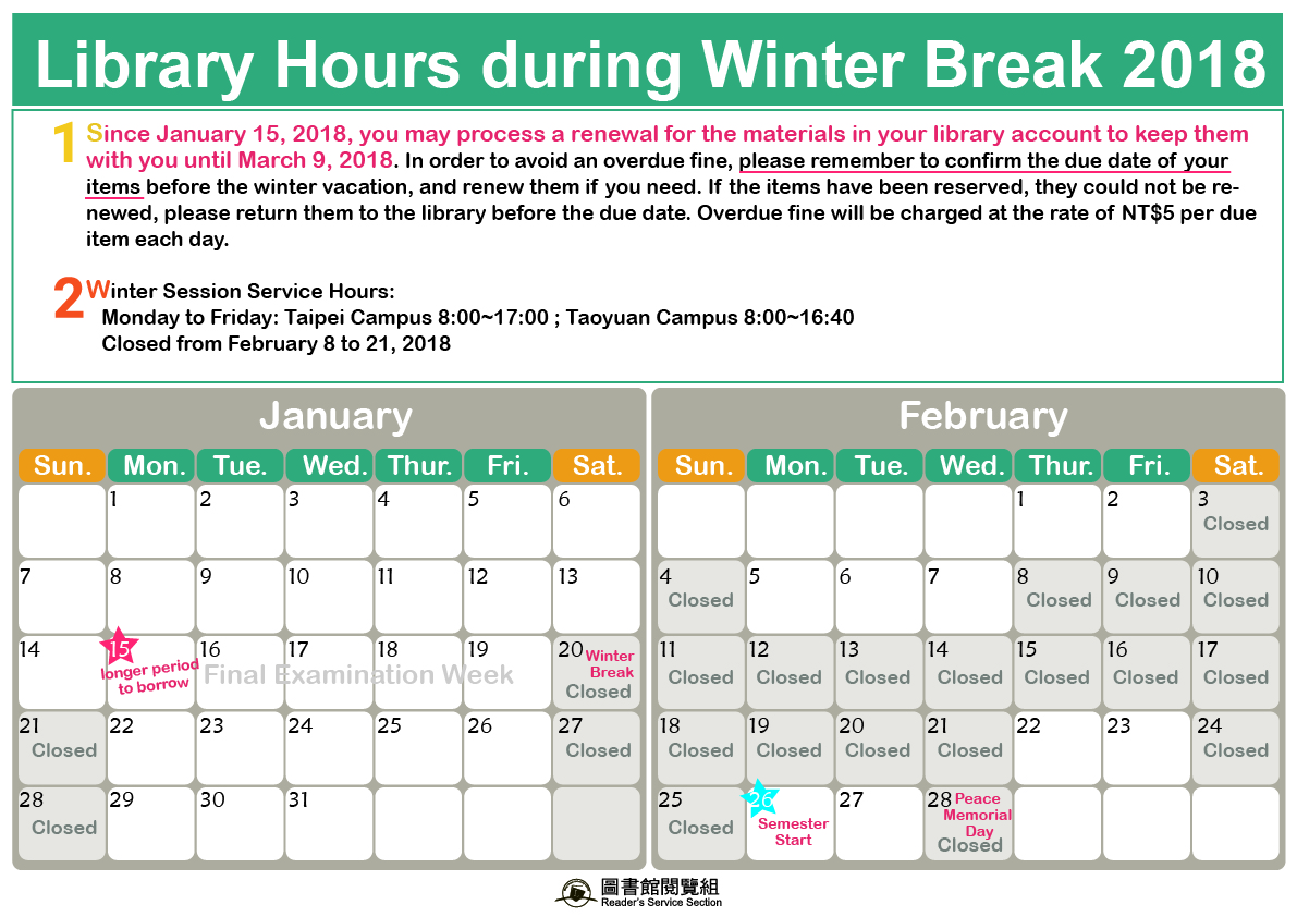 Library Hours during Winter Break 2018